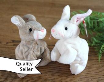Ty Beanie Baby Bunnies / Vintage Beanie baby Rabbits / Stuffed Rabbit Toys / Bunny Toys / Brown Bunny
