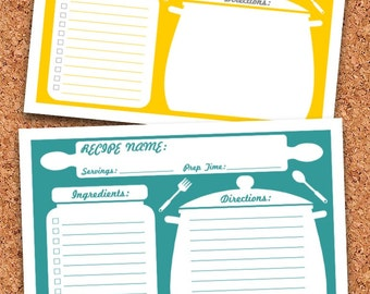 floral recipe cards and sign printable editable recipe card