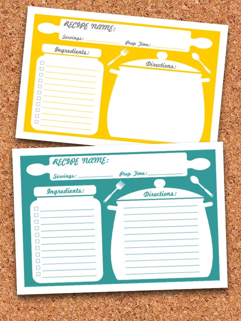 editable recipe card