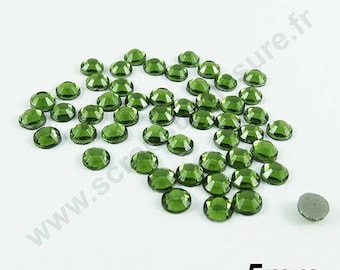 Rhinestone Thermo - OLIVE Green - 5mm - x 50pcs