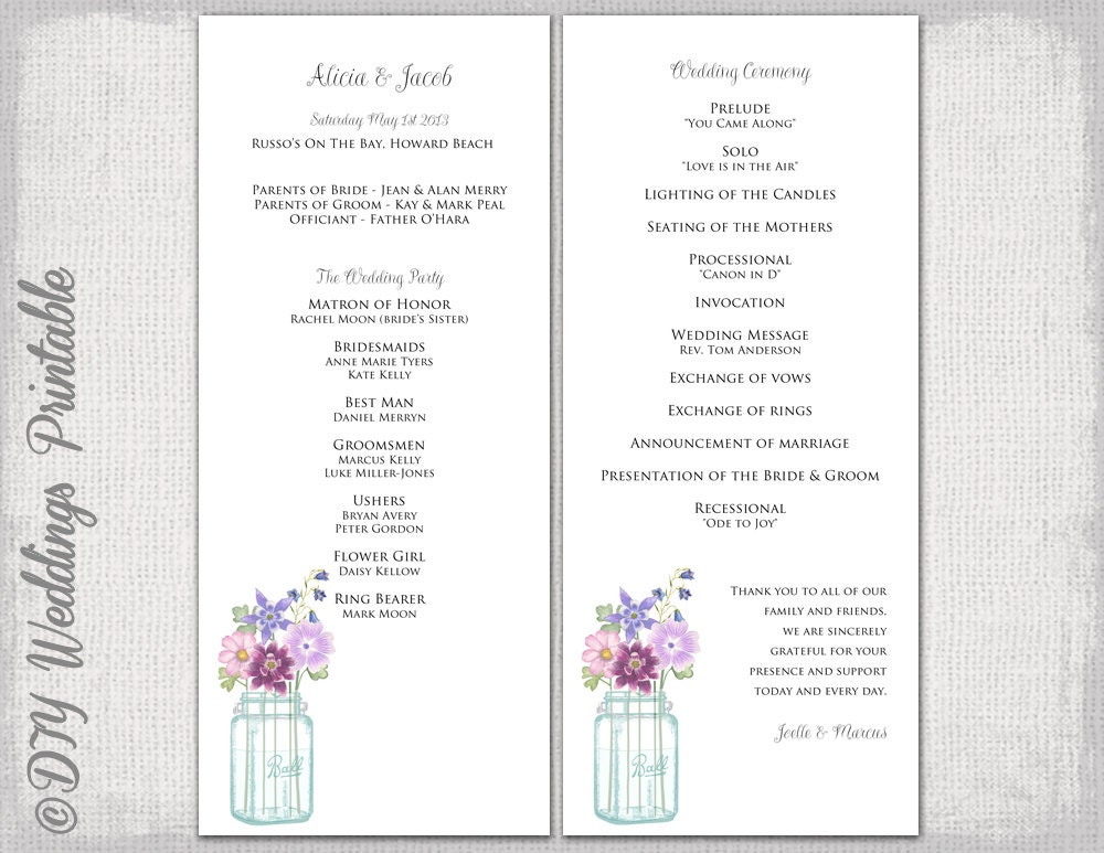 wedding processional order template - wedding program template mason jar wedding program