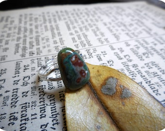 Potter's Field. Rainbow Calsilica Cabochon Ring