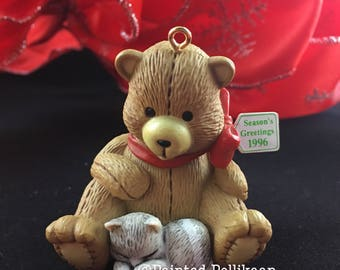 Vintage 1996 Christmas Ornament, Teddy Bear and Kitten, Christmas Friends