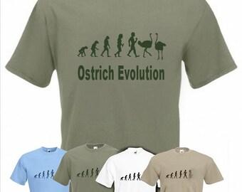 Evolution To Ostrich t-shirt Funny Ostrich Farmer T-shirt sizes Sm TO 2XXL