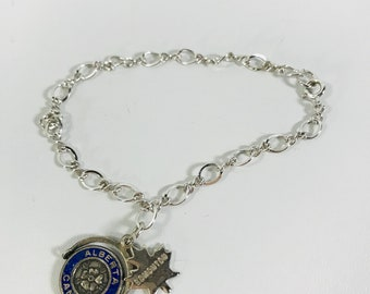 Sterling Charm Alberta Canada Silver Edmonton on Silvertone Bracelet Vintage