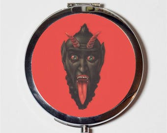 Krampus Compact Mirror - Devil Face Half Goat Half Demon Christmas Character - Make Up Pocket Mirror for Cosmetics