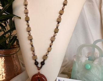 Marble and ceramic focal necklace