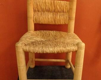 Primitive Rush Child Size Chair, Rustic Natural Rush Children's Chair Photographer Prop Chair, Farmhouse Decor Child's Chair
