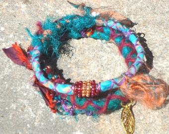 Bohemian bracelets, textile jewelry, Fiber bracelet, boho bangles, bangle set, fiber jewelry,  red jewelry, charms, hippie, chic