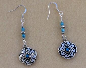 Dangle Earring, Drop Earring, Boho, Silver, Turquoise