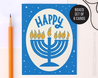 Happy Hanukkah Cute Hanukkah Cards, Unique Hanukkah Cards, Hanukkah Card Pack, Set of 8 A2 Greeting Cards