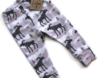 Organic Children's Moose Leggings - Moose Baby Leggings - Organic Toddler Leggings - Baby Girl Leggings - Toddler Moose Leggings