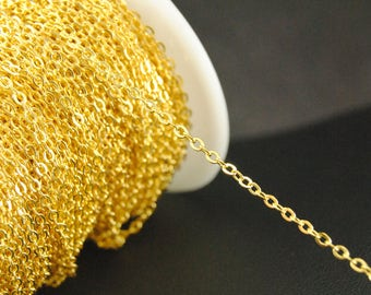 16Ft Gold Chains, Cable Chains, 1.5mm x 2mm Chains, Gold Plated Over Brass Chains.