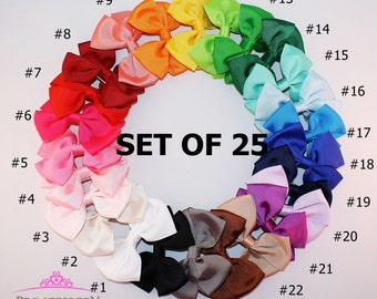 25 Hair Bows for girls - 0.99 DOLLAR each - girls hair bows - little girl hair bow - boutique hair bows - bow hair clip B304