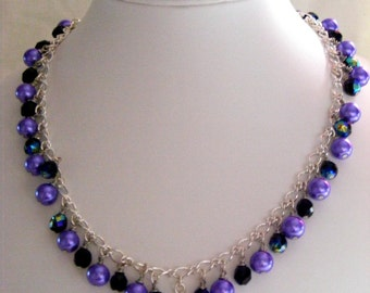 Black and Lilac Heart Jewellery Set
