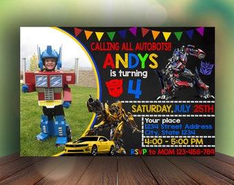 Transformers Birthday Invitation, Transformers Invitation, Transformers Birthday, Transformers Party, Optimus Prime Birthday, Bumble Bee