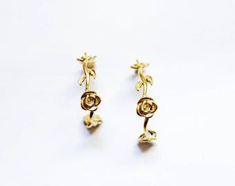 Rose Hoop Earrings - Gold Plated Earrings - Rose Earrings - Gold Plated Rose - Hoops Earrings - Gold Earrings