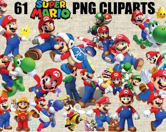 Super Mario Bros Cliparts, 61 Images in 300 PPI PNG Transparent Background, Printable Digital Graphics