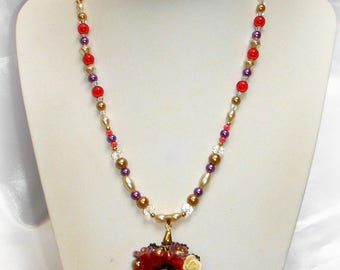 Valeria - Poppy Bouquet pendant necklace
