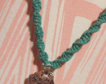 Turquoise Hemp Necklace With Pendant