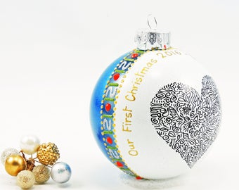 Our First Christmas ornament - Hand painted personalized glass ball - Large heart