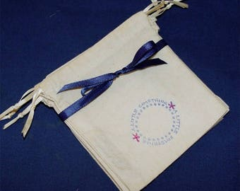 Muslin, Party Favor bags, Wedding, thank you, gift bags, set of 5 bags, drawstring