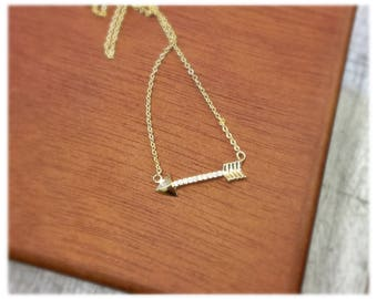 Arrow Crystal Necklace, 14k Gold plated, Dainty Arrow Necklace