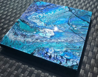 "ABYSS- 12x12"" original acrylic and resin painting on cradled wood"