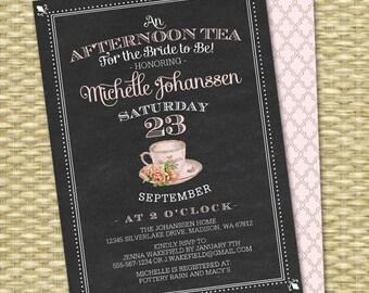 Chalkboard Bridal Tea Invitation, Bridal Shower Tea Party, Bridal Tea, Bridal Brunch, Vintage Teacup, Pink Roses, Any Event