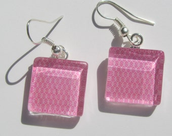 Fun Pink Earrings, Glass Dangle Earrings, Summer Earrings