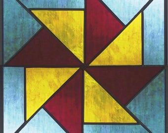 "12"" X 12"" Stained Glass ""Windmill Traditional"" Pattern PDF B&W Digital Download"