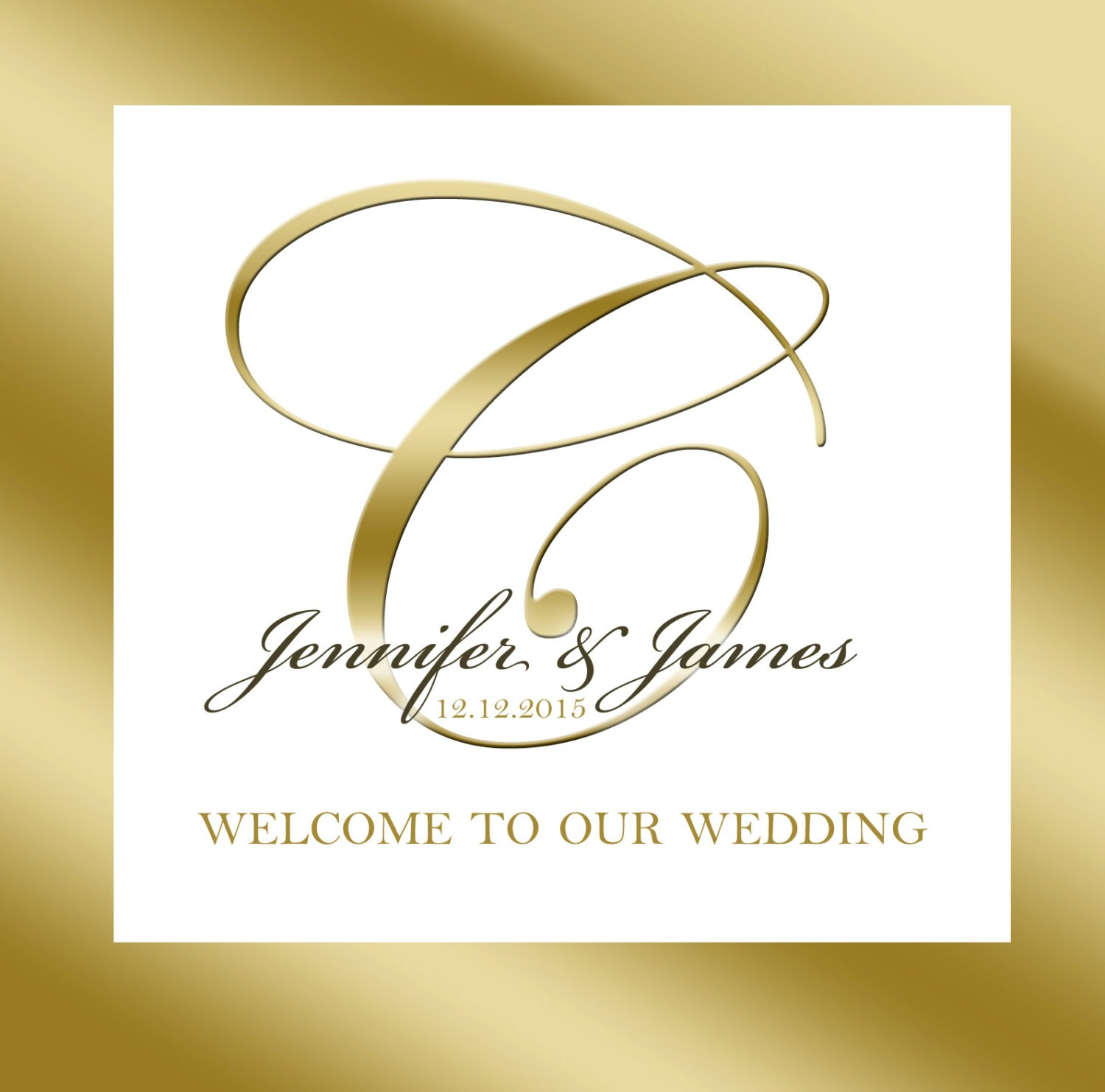 20 Wedding Welcome Bag labels. Gold Frame with monogram for
