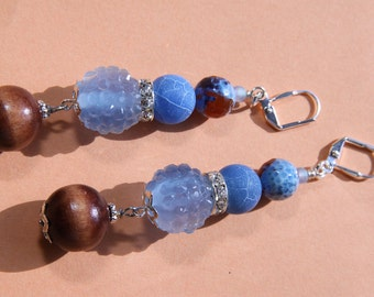 "3"" 1/4 L Blue n Red Fire agate stone, Baby blue rhinestone bead, dangle,drop earrings"