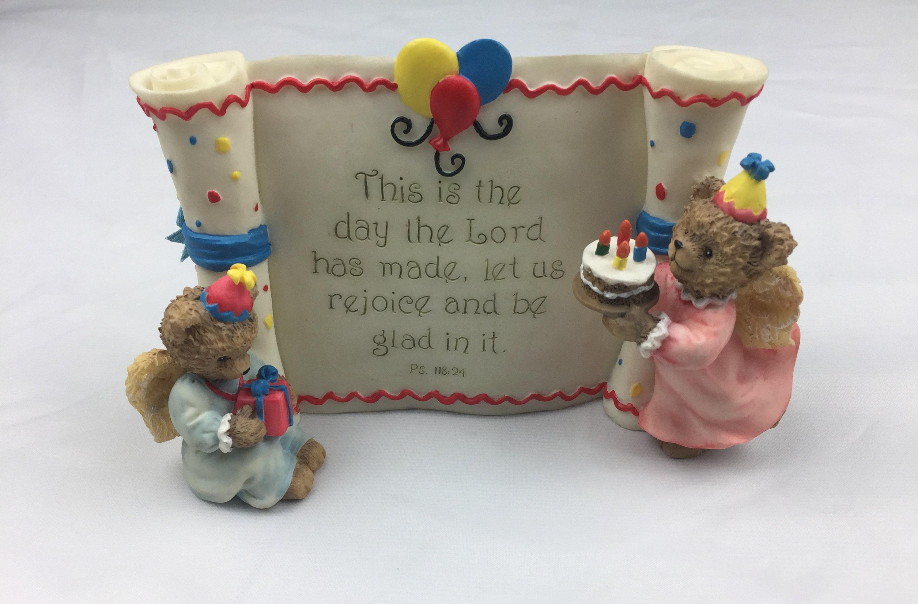 Happy Birthday Religious Statue With Bears And Birthday Cake