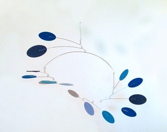 Modern Art Mobile, Kinetic Mobile, Crib Mobile, Modern Baby Mobile - The Nova, in Blue Heaven