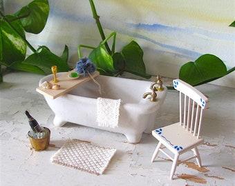 Rustic Linen Cotton 1:12 Scale Dollhouse Miniature Bath Mat, Kitchen Bathroom Rug, Artisan Hand Woven Country Farmhouse Decor Furniture Rug