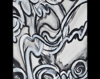 """Abstract black and white graffiti style painting #2- 16x20"""" poster print"""