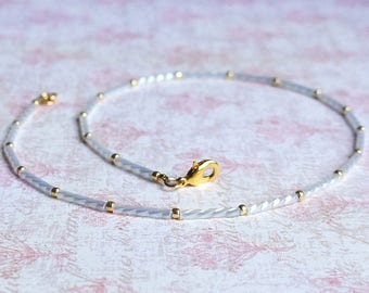 Seed Bead Choker, White Seed Bead Necklace, White Choker, Beaded Choker, Beaded Necklace, Dainty Necklace, Minimalist Bead Necklace