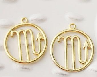 Zodiac Scorpio Sign, Scorpio Charm, Scorpio Pendant, Scorpio Month, Scorpio Charms, Round Gold Charms, Set of 4, October Charm, Gold Charm,