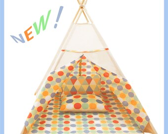 Tipi Teepee  Tent Play Mat for kids Wigwam  (Colored Peas) HANDMADE