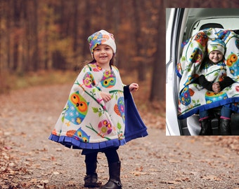 Car Seat Poncho Owl - Cozy Gozy Travel Capes are warm winter fleece car seat capes that are a safe alternative to heavy coats in car seats.