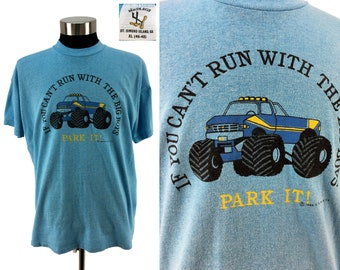 Vintage 1988 MONSTER TRUCK - Park It! T-Shirt XL // 80s // Retro // Big Boy // Grave Digger // Rally // Racing // Monster Jam // Hot Rod