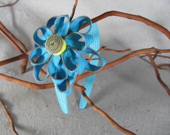 Turquoise Flower Headband - Zipper Flower -Zipper Headband - Upcycled - Recycled -Repurposed -Girls Headband -Womens Headband -Baby Headband