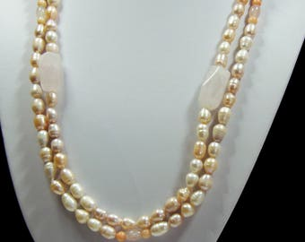Handmade Double Strand Freshwater Pearl and Rose Quartz Necklace (3008)