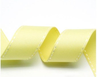 5Yards Pale Yellow/White Grosgrain Stitch Ribbon - 5mm(2/8''), 10mm(3/8''), 15mm(5/8''), and 25mm(1'')