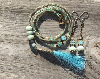 Amazonite Rondelles and Czech glass Tassel Boho Necklace
