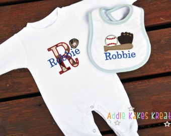 Baseball Themed Baby Outfit - Baby Sleeper - Baseball Baby Sleeper - Baseball Bib - Personalized Baby Set - Baby Boy Coming Home Outfit
