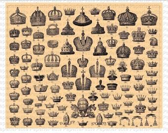 Vintage Crowns Digital Download Collage Sheet A