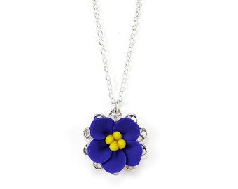 African Violet Charm Necklace - African Violet Jewelry, Simple African Violet Necklace, African Violet Wedding Jewelry