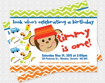 Monkey Party Invitation, Printable file, Personalized, For boys